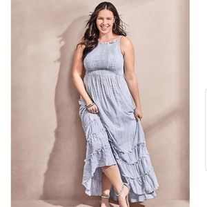 Torrid Light Blue Tie Dye Challis Maxi Dress